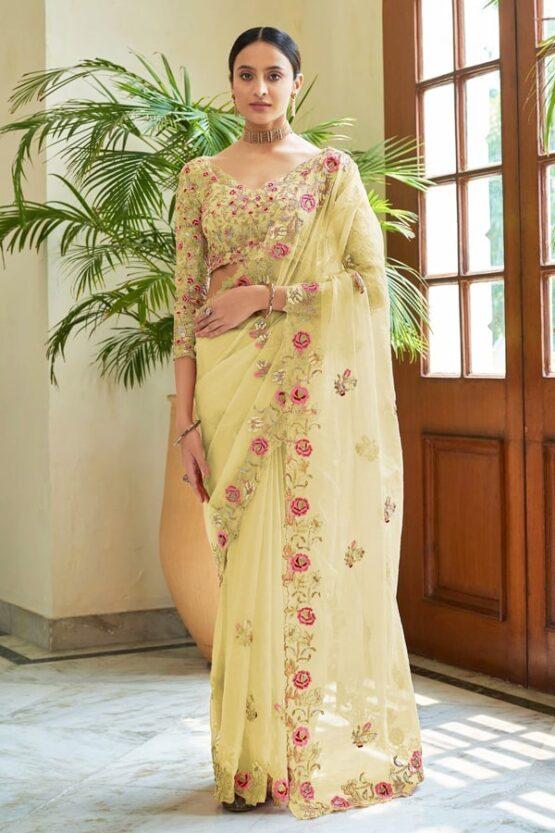 Indian wedding guest saree Yellow