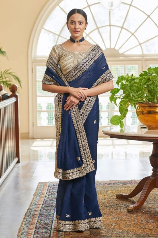 Indian wedding guest saree look Navy (2)