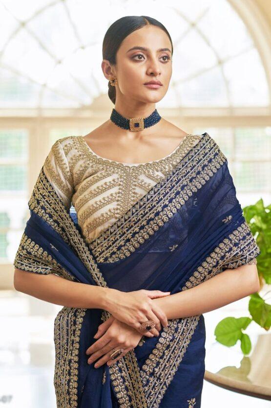 Indian wedding guest saree look Navy