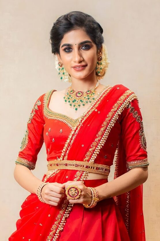 Latest half saree designs 2021 red pattu