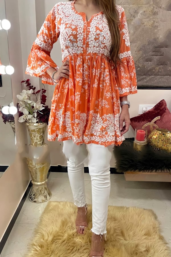 Latest kurti design Images 2022 Girls orange