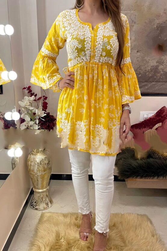 Latest kurti design Images 2022 Girls yellow (2)