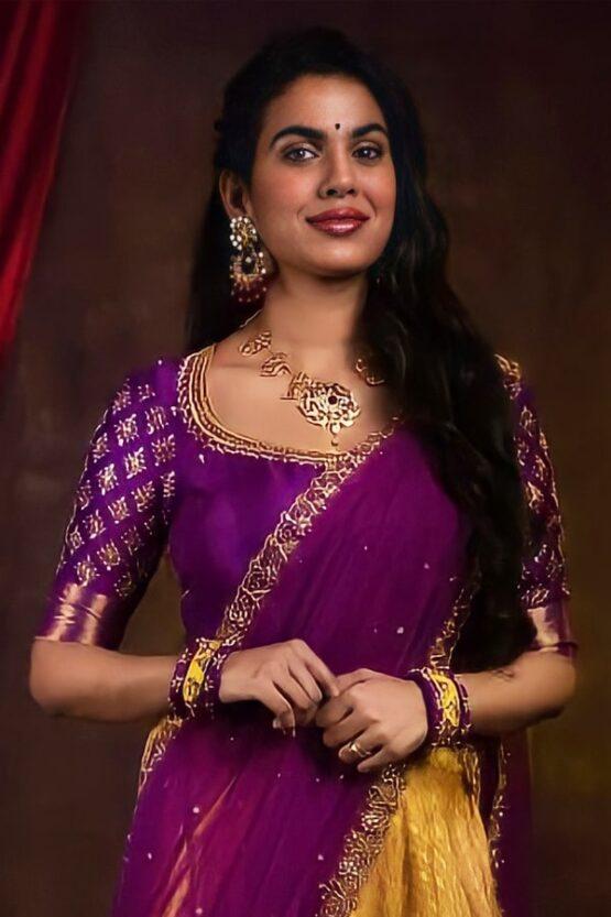 New model Pattu half saree (2)