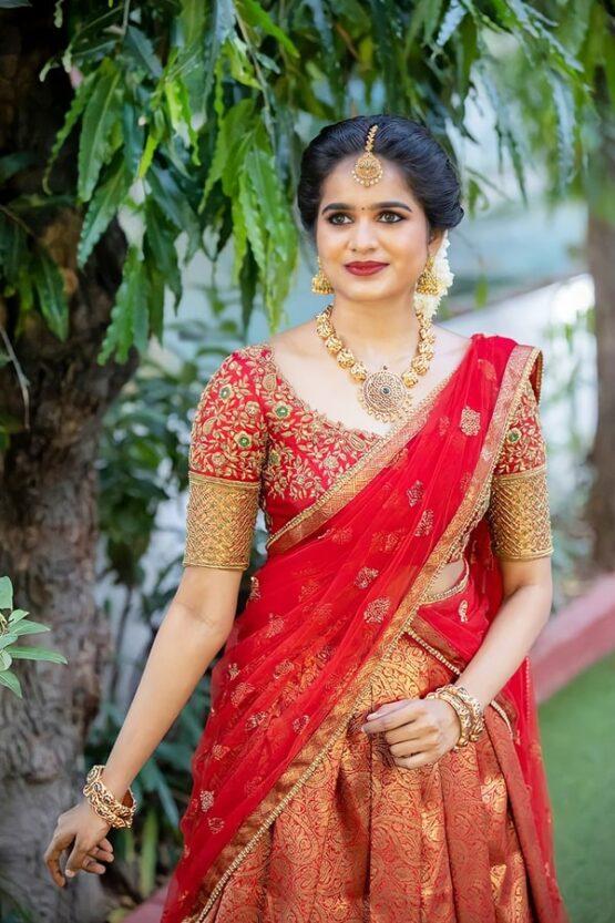 New model pattu half saree with Price