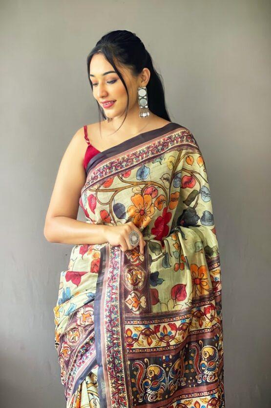 New saree design 2022 Images green
