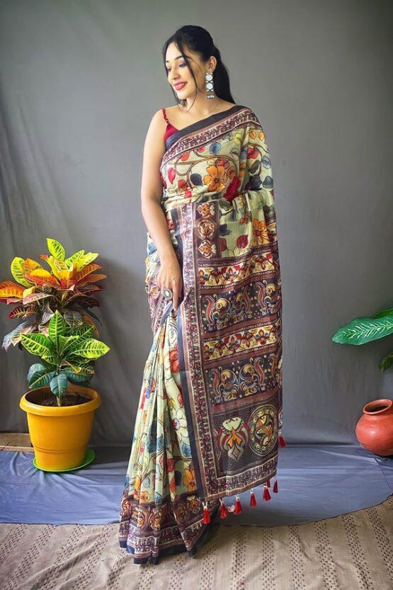 New saree design 2022 green