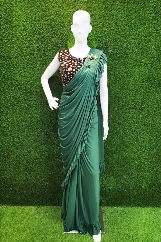 Ready to wear saree online Partywear green