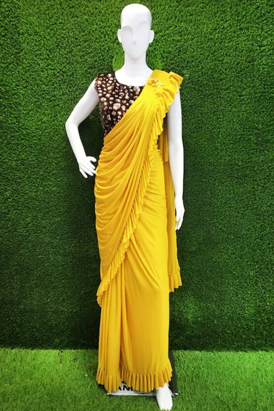 Ready to wear saree online Partywear yellow