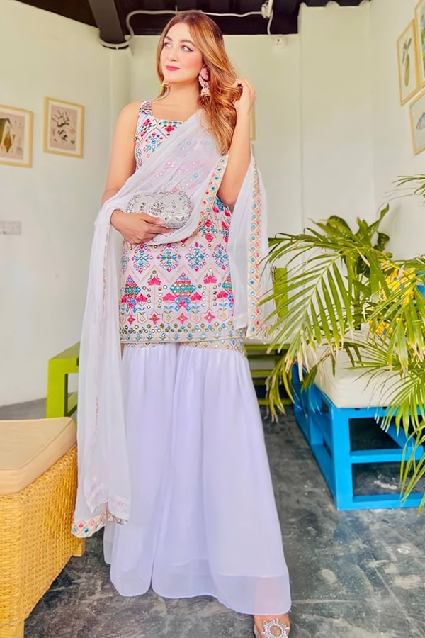 simple plazo suit with heavy dupatta